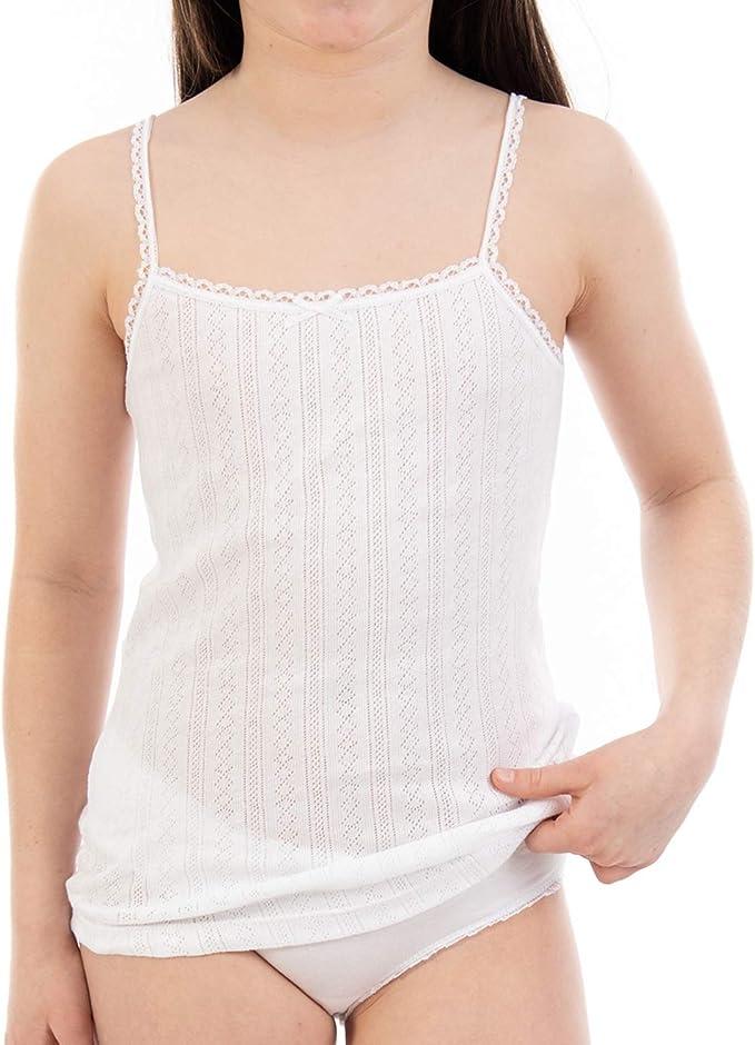 LACOTEX L C T Camiseta Interior de niña L340, Jacquard de Tirante ...