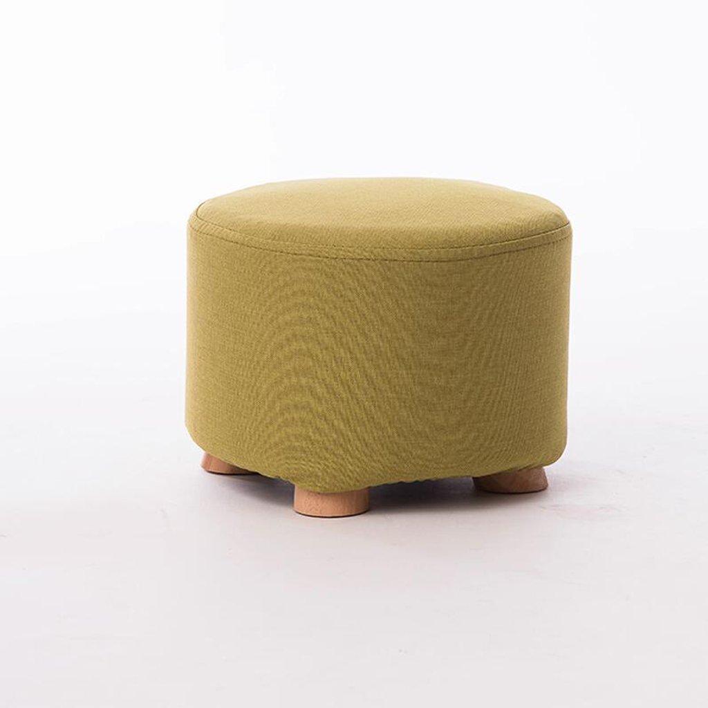 Silla Rollsnownow Amarillo-Verde Moda Creativa Taburete bajo Taburete de sofá Cambiar el Taburete del Zapato Taburete Redondo Cuatro escabel