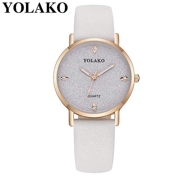Relojes Pulsera Mujer BBestseller Reloj niña Reloj de Brazalete de Diamantes de señoras Moda para Estudiantes Reloj Deportivo (Blanco): Amazon.es: Relojes