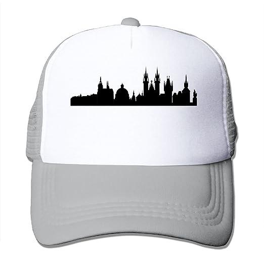 46012187d434c Mesh Baseball Caps Prague City Skylines Adjustable Sports Trucker Cap Sun  Hats for Golf Cycling Running