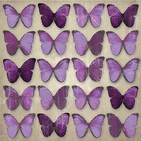 Plum Purple Metallic Butterflies Butterfly Canvas Wall Art Picture 57 X 57  Cm Wall Decor