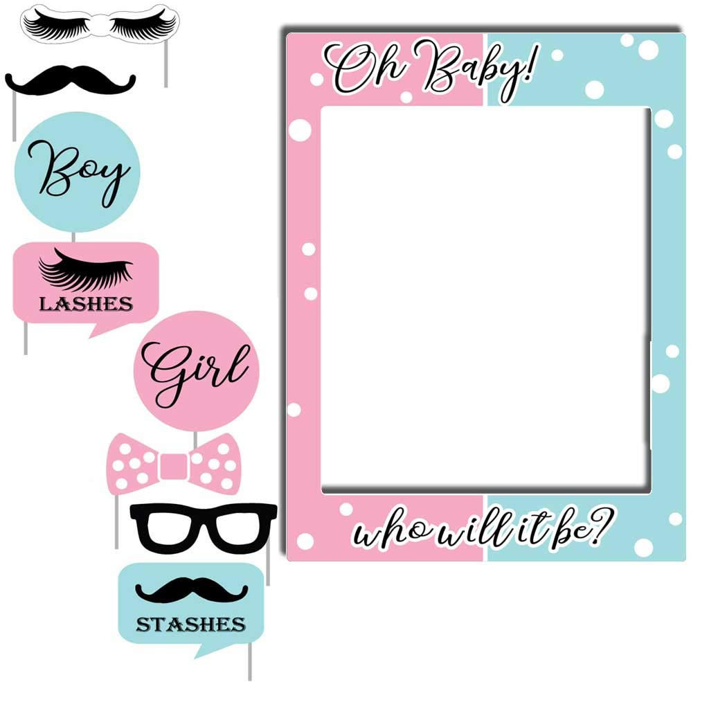 VictoryStore Gender Reveal Decorations: Lashes Or Stashes Oh Baby Gender Reveal Photo Booth Frame and Photo Booth Props Includes 8 Shorts Stakes for Props