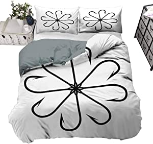 Duvet Cover Set Fishing Decor Luxury Down Comforter Quilt Cover Flower Shaped Artisan Steel Multi Hook Gaff in Row New Needle Device Figure ,3 Piece Bedding Set with 2 Pillow Shams, Queen/King Size