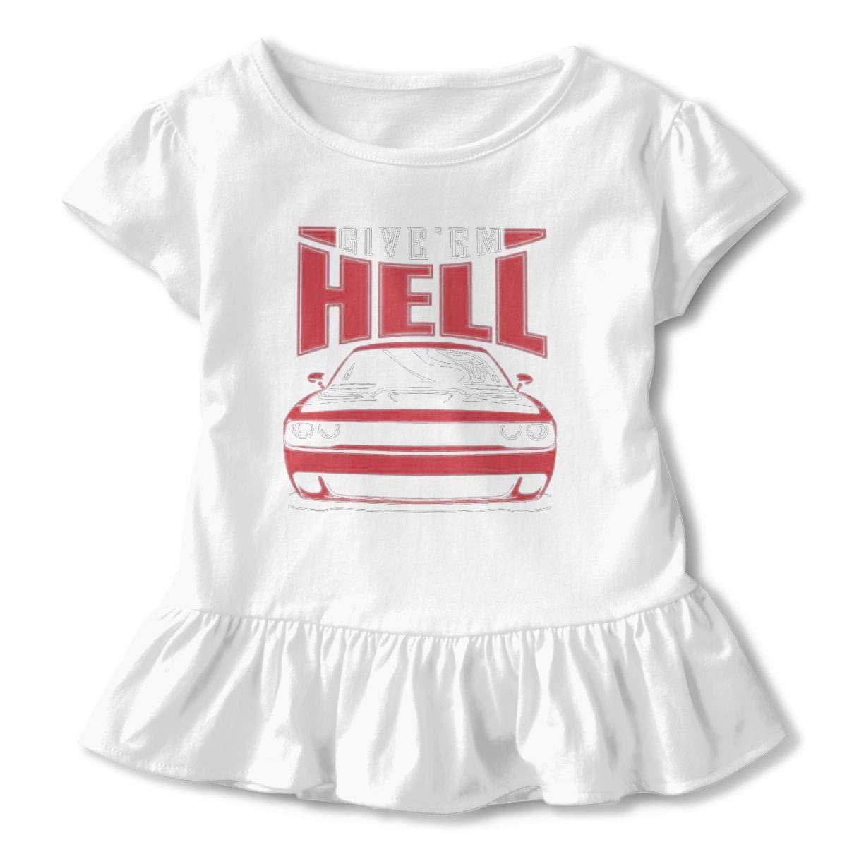 American Muscle Dodge Mopar Charger Challenger Car Hellcat Toddler Little Girl Floral Ruffled Sleeve T-Shirt Tops
