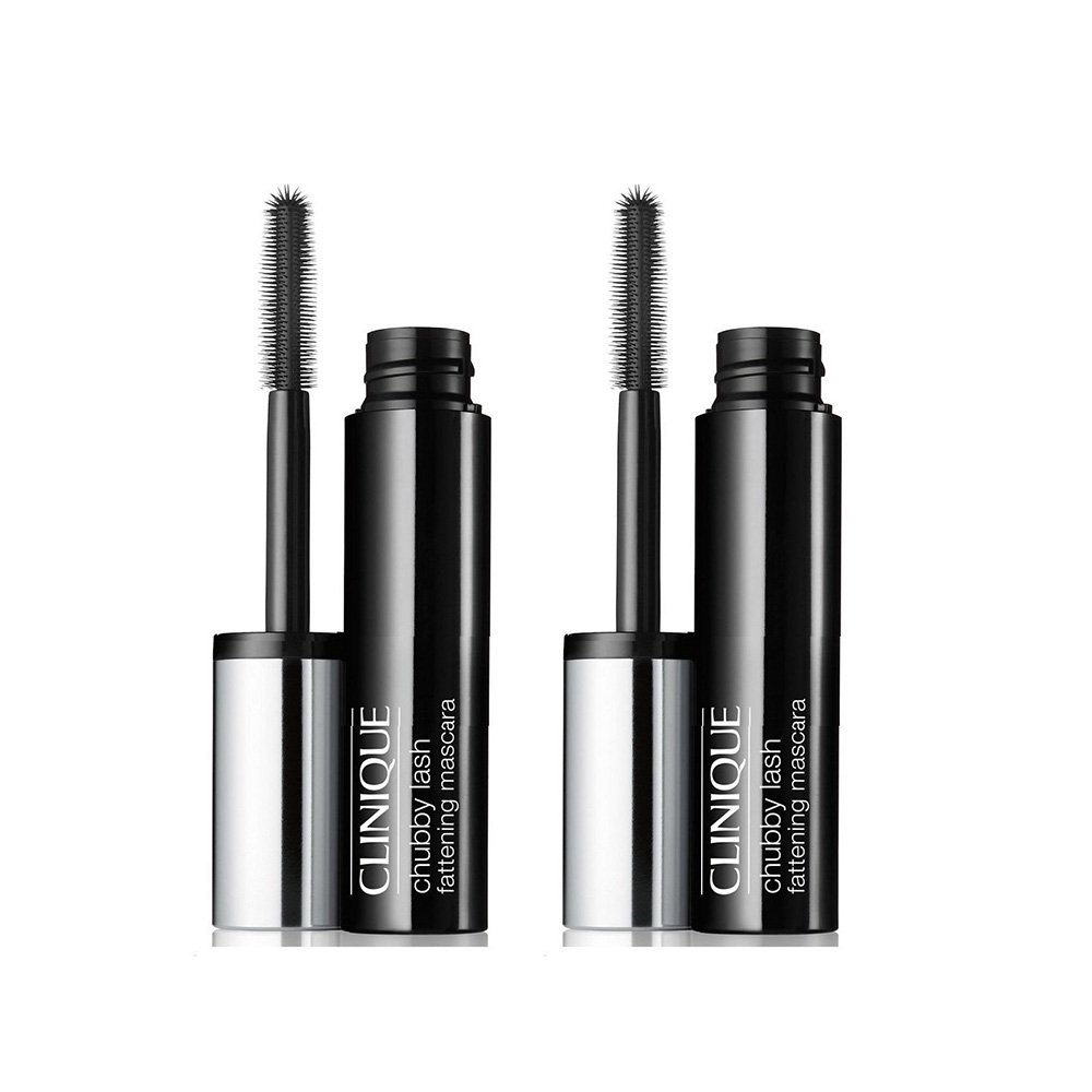 2 Pcs CLINIQUE Chubby Lash Fattening Mascara in 01 Jumbo Jet Travel-Size Set 0.14oz/4ml