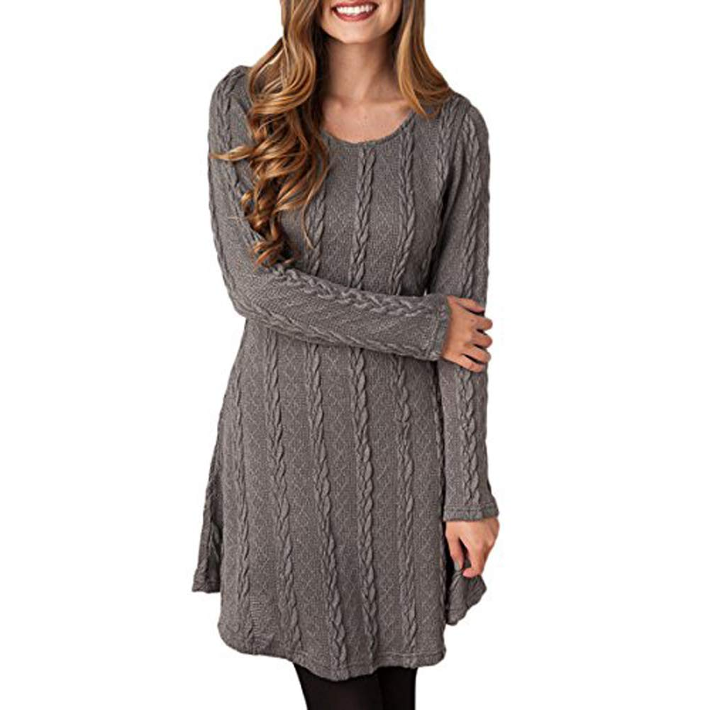 HAPEE Sweater Dresses Tunic for Women, Long Sleeve Crewneck Knit Pullover Sweater HAPEE.Co.Ltd