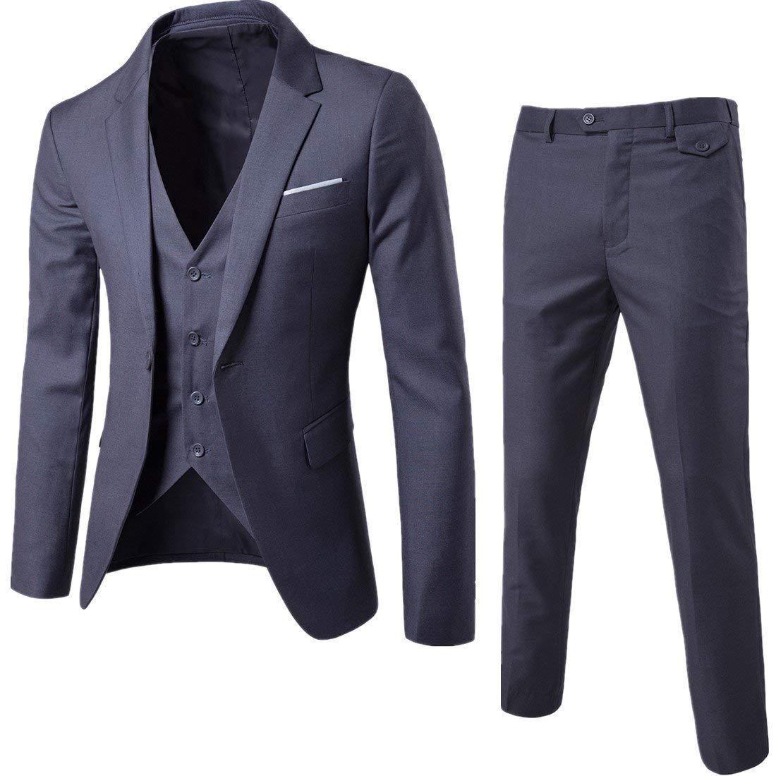 Mens 3-Piece Suit Notched Lapel One Button Slim Fit Formal Jacket Vest Pants Set,Dark Grey,Large