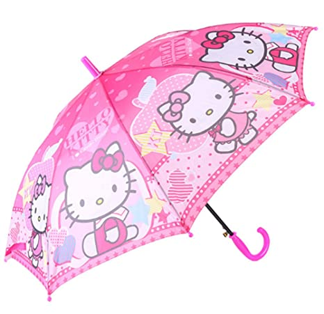 4e2d008d2 Amazon.com: Kid's Cartoon Umbrella Hello Kitty Girl's Umbrella Brolly Sun  Rain (PINK): horizon international trading company