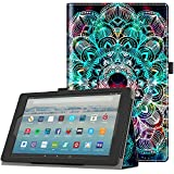 Retear Case for Amazon Leather Kindle Fire HD 8 Tablet(7th/8th Generation, 2017/2018 Release) with Auto Wake/Sleep ...