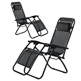 (BTM) Set of 2 Sunlounger Chair Adjustable Foldable Garden Chair with Pillow Weather Resistant Armrest Camping Relax Chair Outdoor (2)
