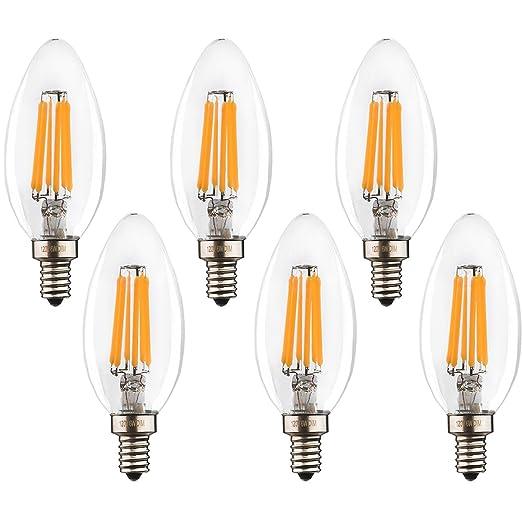 imesun LED Candelabra Bombilla E12 6 W – Equivalente a 60 W techo LED bombilla,
