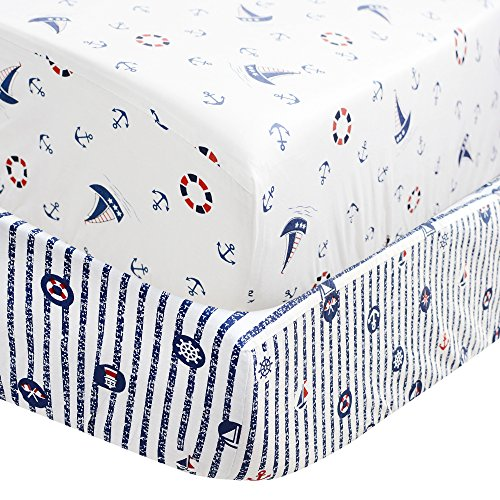 Brandream Blue Crib Sheet Set Boys Toddler Sheet Set 2 pack