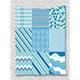 Ambesonne Baby Nautical Dots Stripes Decor Collection, Zig Zag Chevron Wavy Anchor and Life Belt Print, Bedroom Living Kids Girls Boys Room Dorm Accessories Wall Hanging Tapestry, Blue Teal White
