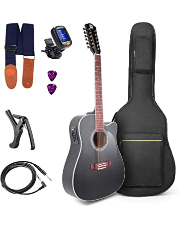 Vangoa 41 Inch 12 Strings VGK41-12BKCE Black Acoustic Electric Cutaway Guitar 4 Band EQ