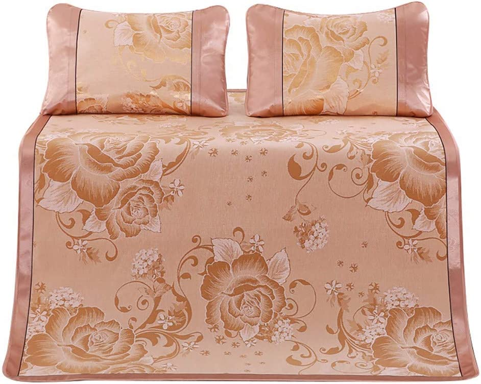 vmree Summer Bedding Bed Sheet Mat Sets - Queen Size Breathable Cooling Ice Silk Sleeping Pad Mattress Topper with 2Pcs Pillow Mat Cover 60 x 80 Inch (Gold, 150x200cm)