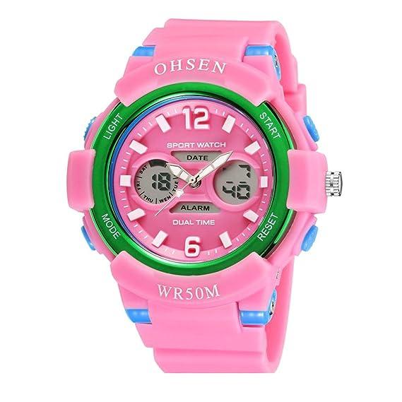 deporte al aire libre digital de moda fresca relojes para los adolescentes llevado de múltiples correa de goma de color rosa claro: Amazon.es: Relojes