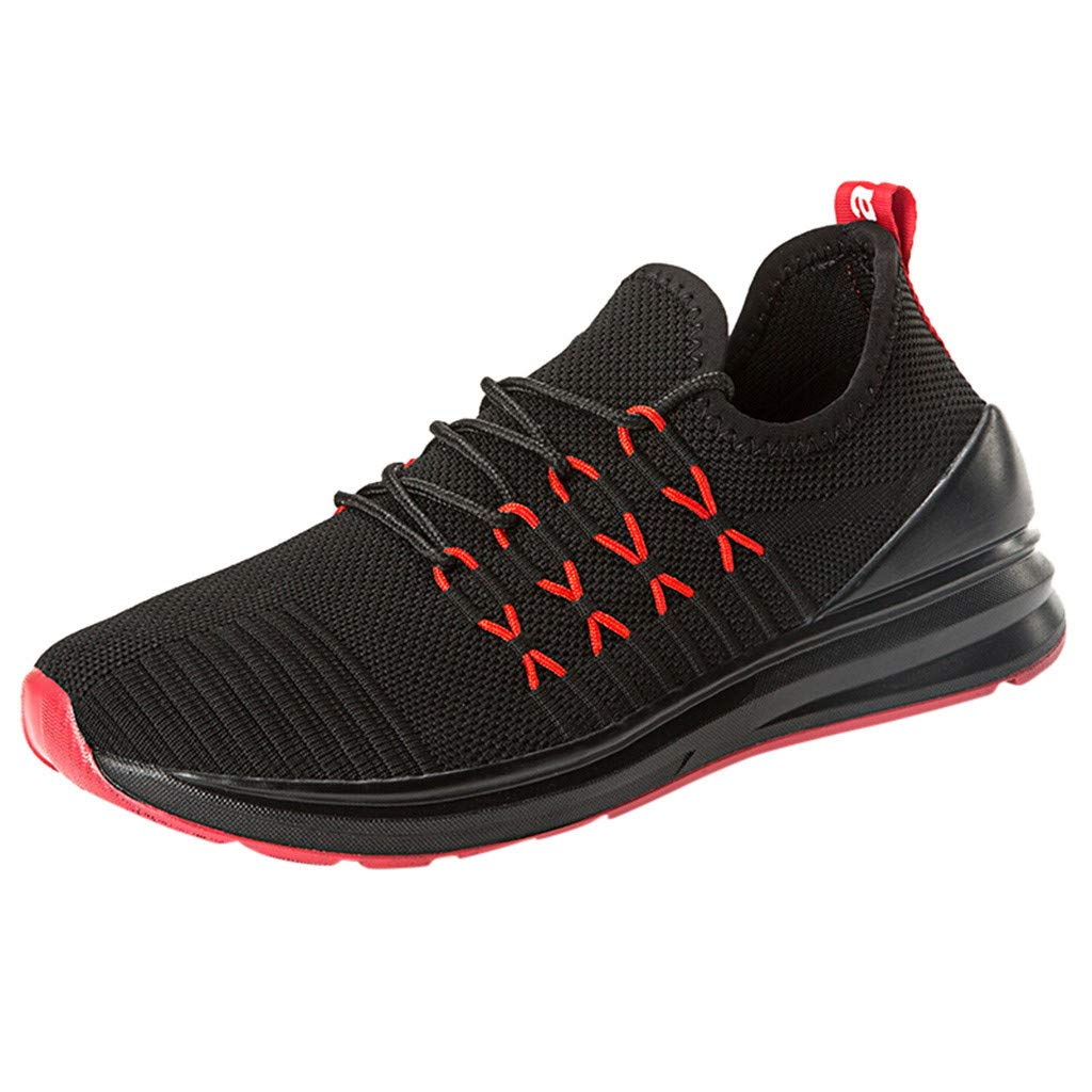 Outdoor Running Shoes Men,Mosunx Athletic 【Mesh Weaving Breathable 】Wear-Resistant Lace Up Sneakers Trail Non-Slip Walking Shoes (8 M US, Red) by Mosunx Athletic