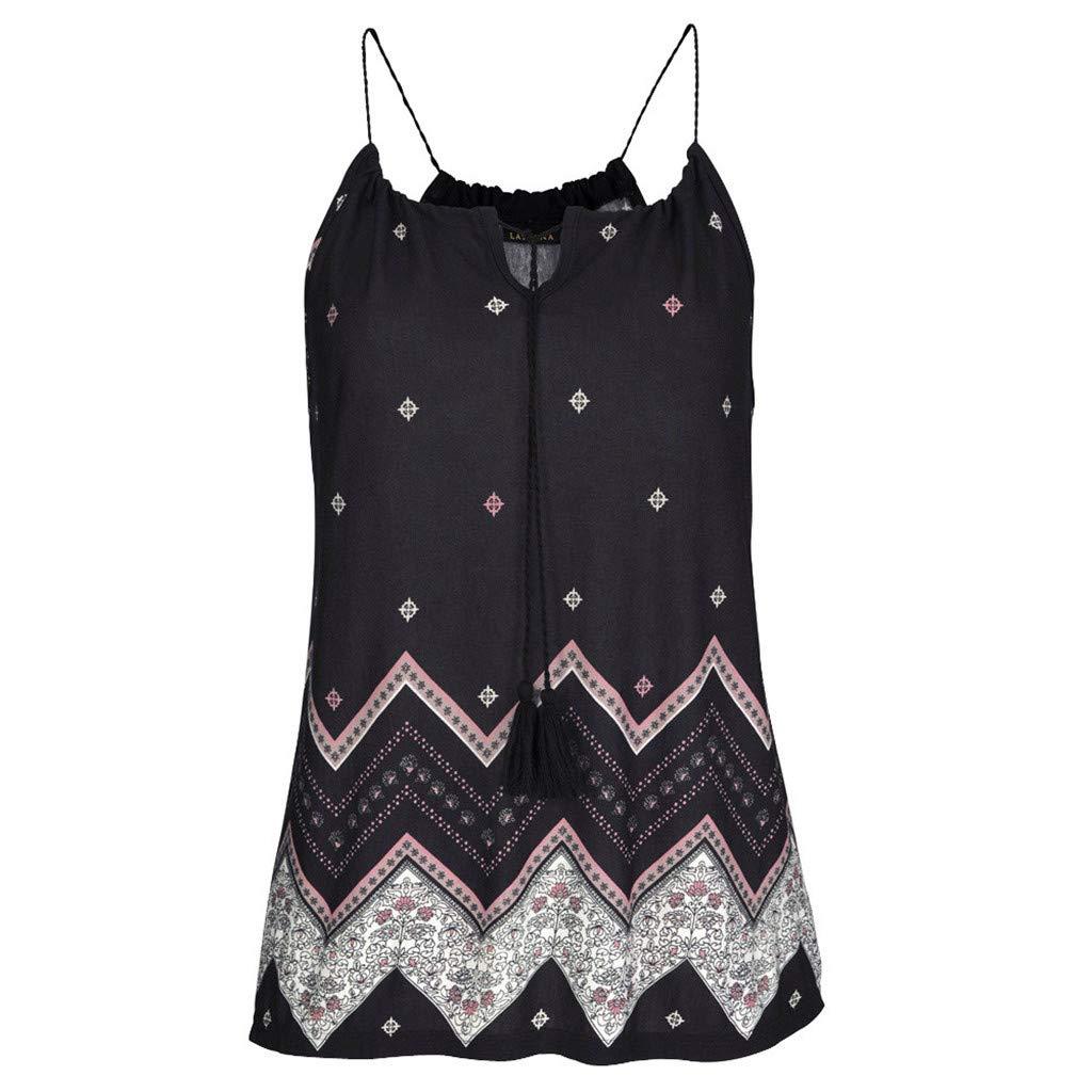 Yaseking Women's Summer Sleeveless Boho Printed Pleated Chiffon Blouse Loose Tank Tops for Beach Party (2XL, Black)