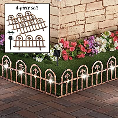 Jumbl Decorative 4 Piece Solar Wrought Iron Metal Look Arch Garden Border Fence
