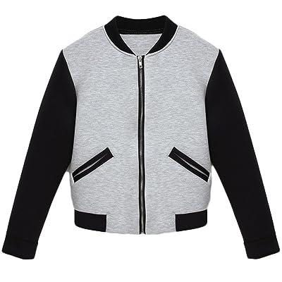 DELEY Femmes Manches Longues Loisirs Patchwork Baseball Classique Bomber Jacket Manteau Veste À Capuche Outwear Blouse