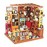 Image of Dollhouse Miniature DIY House Kit Barbie House Creative Room With Furniture For Artwork Gift (Study Room)