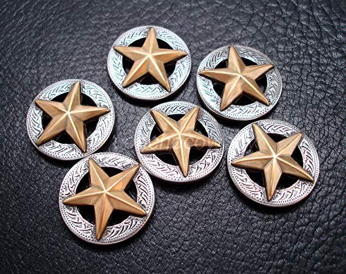 JumpingLight Set of 6 Western Horse TACK Saddle Antique Gold Star Conchos 1-1/8'' Screw Back Perfect for Crafts, Scrap-Booking, Jewelry, Projects, Quilts