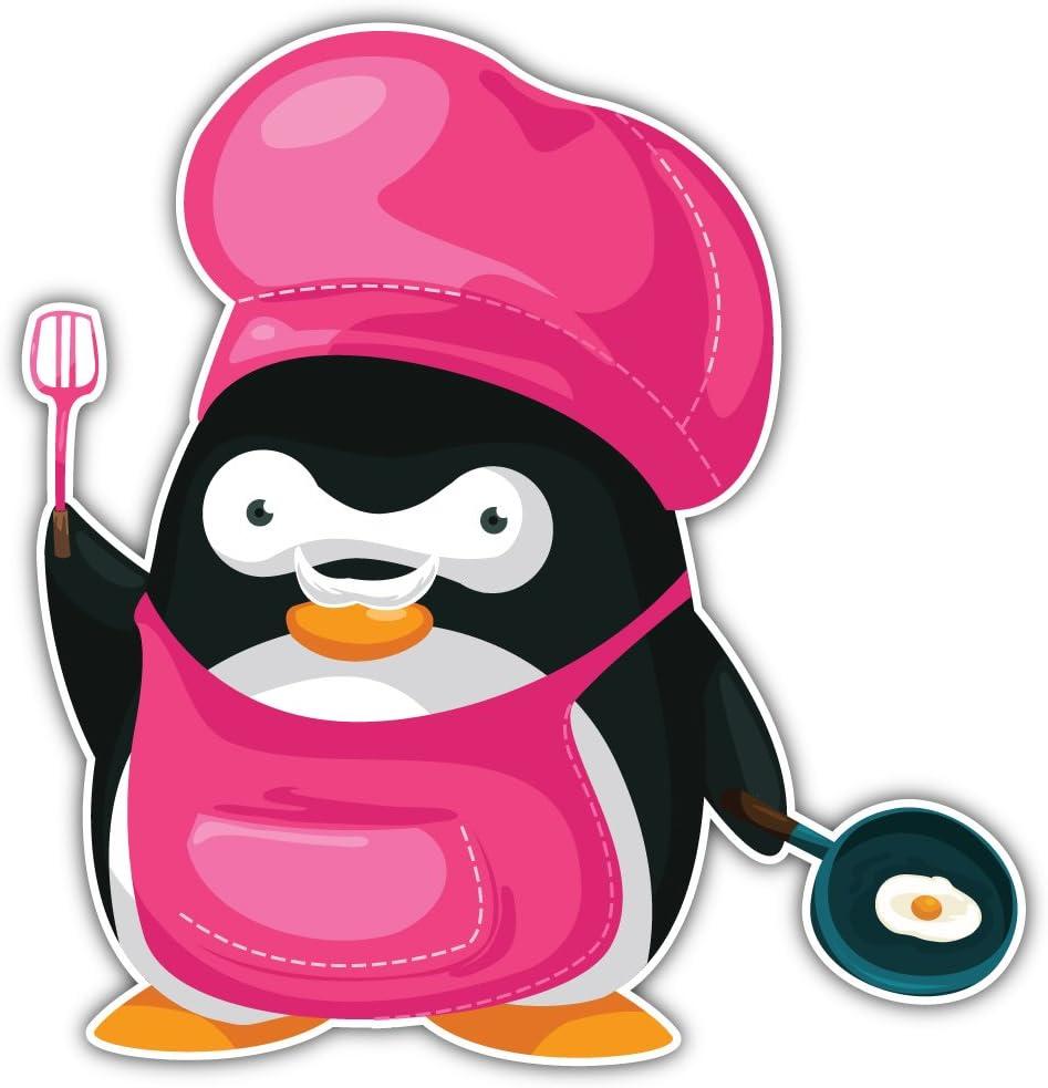 SkyLabel Cute Penguin Chef Cartoon Animal Bumper Sticker Vinyl Art Decal for Car Truck Van Window Bike Laptop