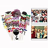 OFKPO 76pcs Photo Booth Props Colorful Moustache Mask Lips Hat Props On a Stick for Party Birthday Wedding Christmas