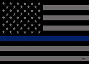 Large Blue Lives Matter Thin Blue Line Police Officer Flag Canvas Print Wall Decor Art Decoration 20x16 Inch Subdued