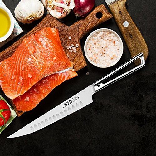 TUO Cutlery Carving Slicing Knife - German 1.4116 High Carbon Stainless Steel - Slicer Kitchen Knife with Hollow Stainless Steel Handle - AURORA Series - 8''
