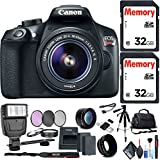 Canon EOS Rebel T6 DSLR Camera 18-55mm Lens Two 32GB Memory Cards Extra Battery Deluxe Accessory Kit