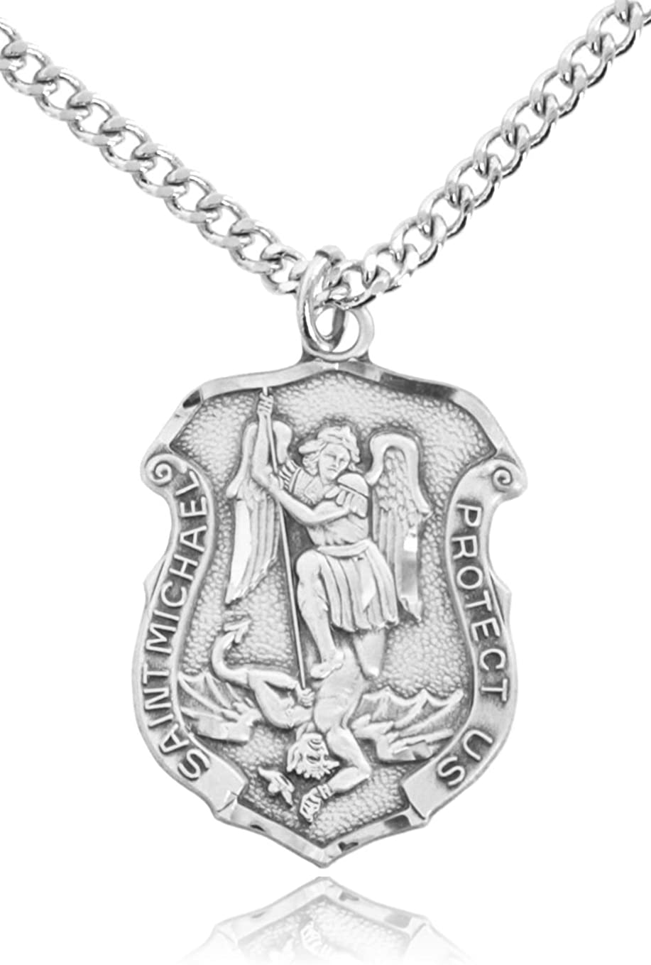 Heartland Men's Saint Michael Sterling Silver Police Shield Medal + USA Made + Chain Choice