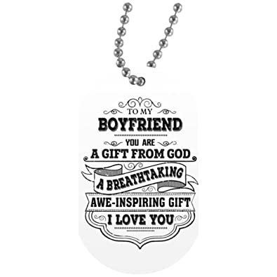 Customized To My Boyfriend Dog Tag Necklace Military Mens Jewelry