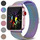 DaQin Bands Compatible with Apple Watch 38mm Men and Women Milanese Metal Magnetic Mesh Loop Wristbands for Apple iWatch Series 3 2 1 Colorful