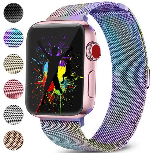 DaQin Bands Compatible with Apple Watch 38mm Men and Women, Milanese Metal Magnetic Mesh Loop Wristbands for Apple iWatch Series 3 2 1 Colorful