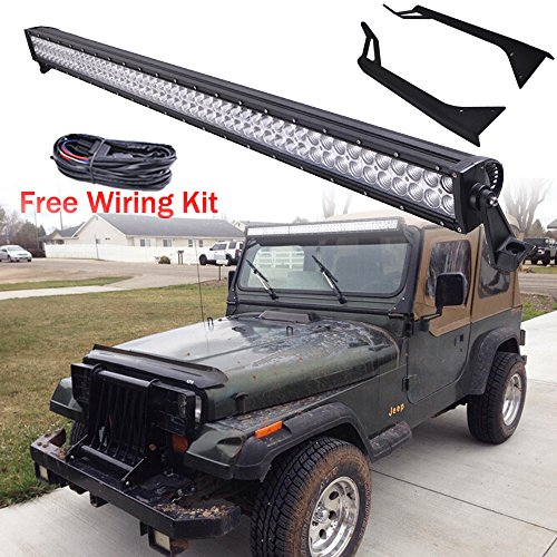 Omotor Upper Windshield Mounting Brackets & 52 Inch Straight Cree LED Light Bar for Jeep Wrangler YJ