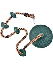 Panghuhu88 Climbing Rope with Platforms, Tree Swing Disc Rope Swing Disc Swing Seat for Indoor or Outdoor Fun, Green