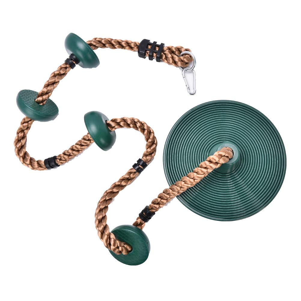 Leyouyou520 Climbing Rope with Platforms, Tree Swing Disc Rope Swing Disc Swing Seat for Indoor or Outdoor Fun, Green