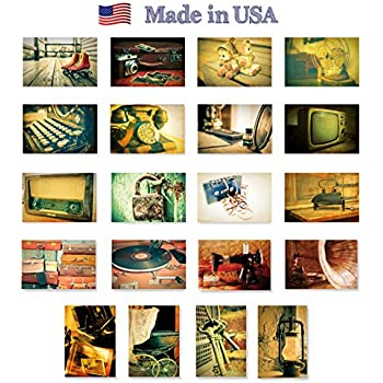 RETRO postcard set of 20 postcards. Antiques, old things, and nostalgia post card variety pack. Made in USA.