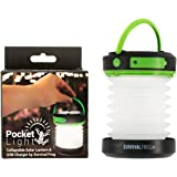 Pocket Light LED Solar Camping Lantern & Collapsible Flashlight with USB Emergency Power Bank Charger Great for Tent Camping, Hiking, Home & Auto by Frog & Co.