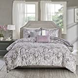 Purple and Green Duvet Cover Set Madison Park Gabby Duvet Cover Full/Queen Size - Purple, Paisley Duvet Cover Set – 6 Piece – 100% Cotton Sateen Light Weight Bed Comforter Covers