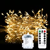 200LEDs String Light, Greenclick 3m String Light with Remote Control Timer Intelligent Cycle IPx7 Waterproof 8 Modes Decorative Lighting for Party Living Room Bedroom Patio Garden - Warm