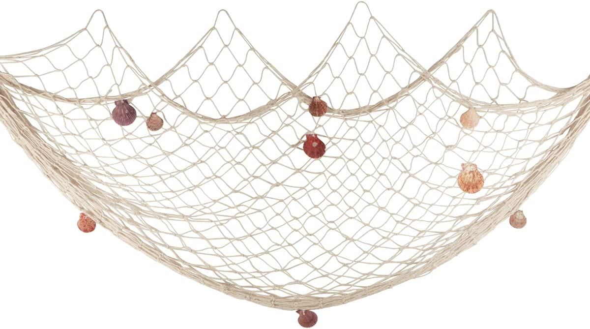 Fishing Net Wall Decor with Natural Shells Beach Themed Fishing Net Wall Hanging for Party Wall Home Wedding Decoration Photographing Decoration,79inch x 59inch(Beige)