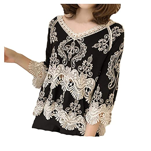 cb73797b iMakCC Women Sexy Hollow Out Lace Summer Blouse Elegant Party V-Neck 3/4  Sleeve Tops at Amazon Women's Clothing store: