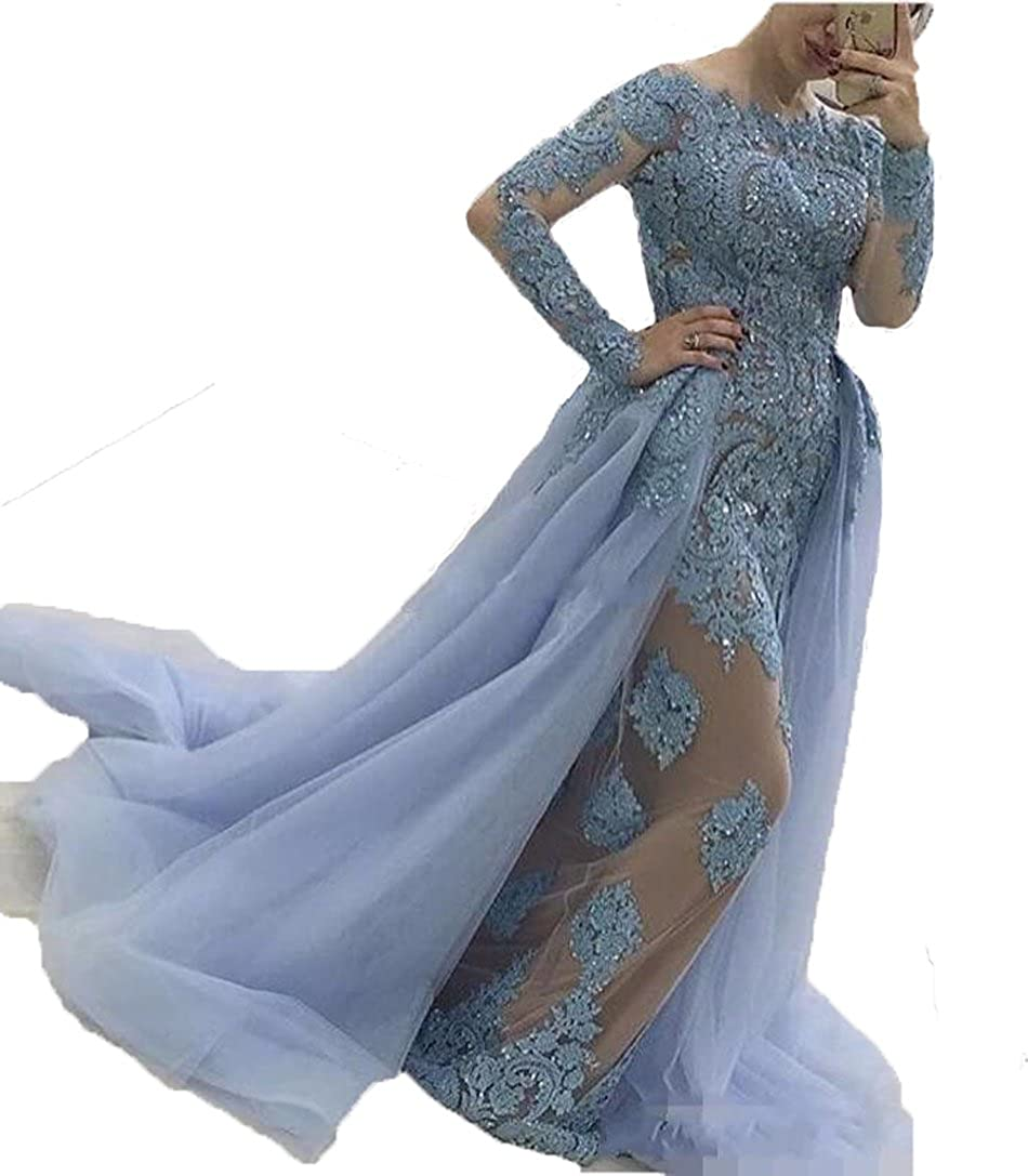 bluee Graceprom Elegant bluee Evening Dress With Long Sleeves Lace Appliques Prom Dress