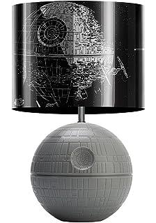 Delightful Star Wars 3D Death Star Desktop LED Lamp Light With Printed Fight Scene  Shade