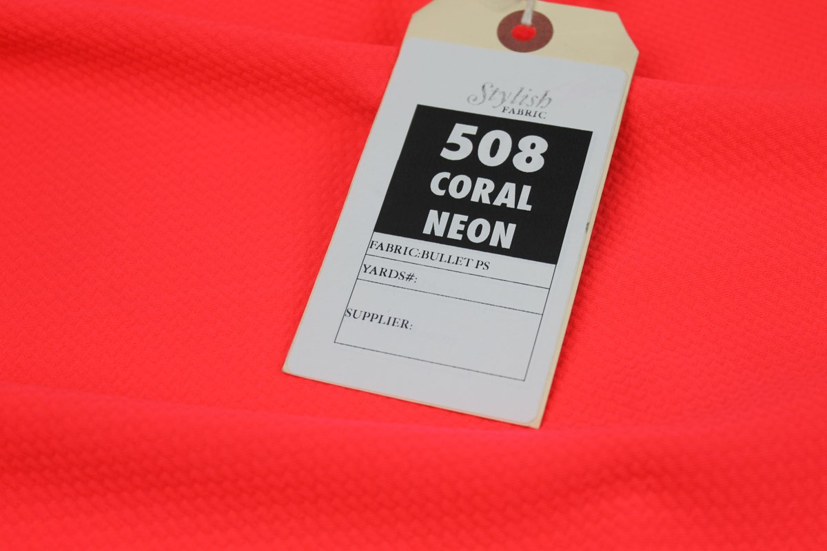 162e8a18b20 Amazon.com: Coral Neon Bullet Poly Spandex Jersey Knit Fabric