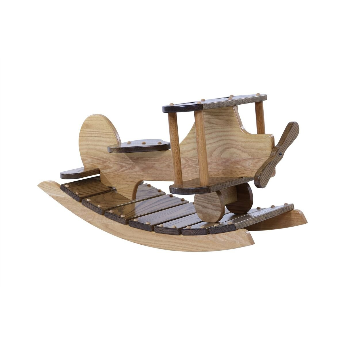 Airplane rocker Wooden rocking plane for toddlers and kids childs Nursery Room decor decoration Hand Crafted in Hickory the USA Made of solid oak Size: 33'' L x 17'' h 16'' . by DaySpring Milestones