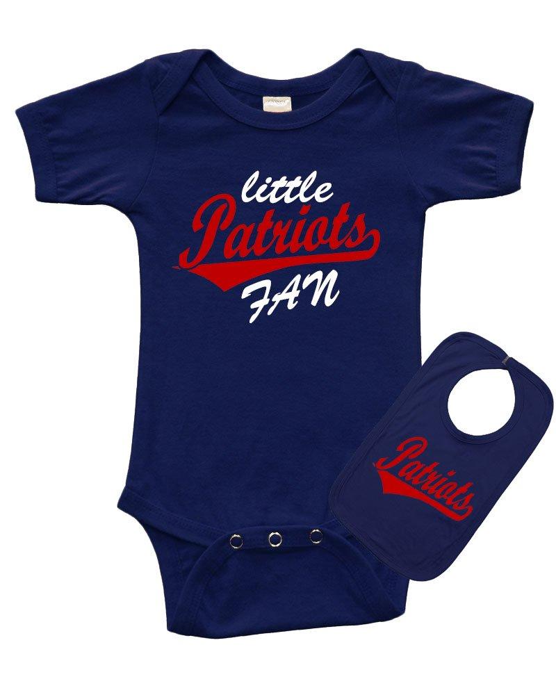 PandoraTees Infant Short Sleeve Onesie + Bib Set - Little Patriots Fan (0-3m, Navy)