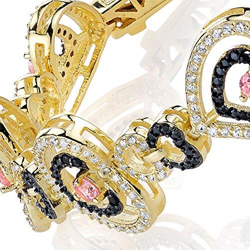 (Minxwinx Sterling Silver 14k Overlay Heart Tennis Bracelet Black, White & Pink CZ's)